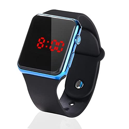Metallic Blue Square LED Multi-Functional Automatic Sports Watch for Men's Kids Watch for Boys, Girls, Women- Watch for Men led Digital Digital Watch - for Men & Women (Black)