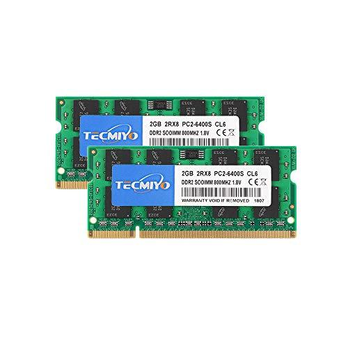 TECMIYO 4GB Kit (2x2GB) PC2 6400 2Rx8 PC2-6400S CL6 DDR2 SOD