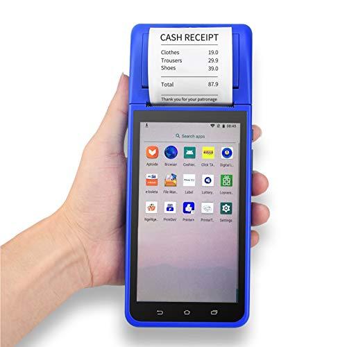 Montloxs Palmare PDA Smart POS Stampante terminale per Ricevute Android 8.1 con fotocamera touchscreen da 5,5 pollici Supporto per scanner di codici a barre 1D 2D 3G / WiFi/BT/GPS per ristoranti