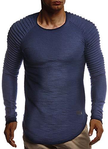 Leif Nelson Herren Rundhals Ausschnitt Langarmshirt Slim Fit Baumwolle-Anteil Basic Männer Longsleeve Pulli weißes Sweatshirt Biker Pullover Crew Neck T-Shirt Langarm LN8310 D. Blau Small