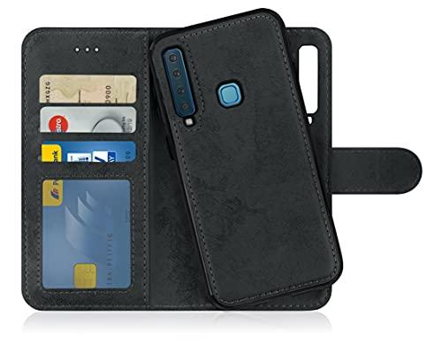 MyGadget Flip Hülle Handyhülle für Samsung Galaxy A9 2018 - Magnetische Hülle aus Kunstleder Klapphülle - Kartenfach Schutzhülle Wallet - Schwarz