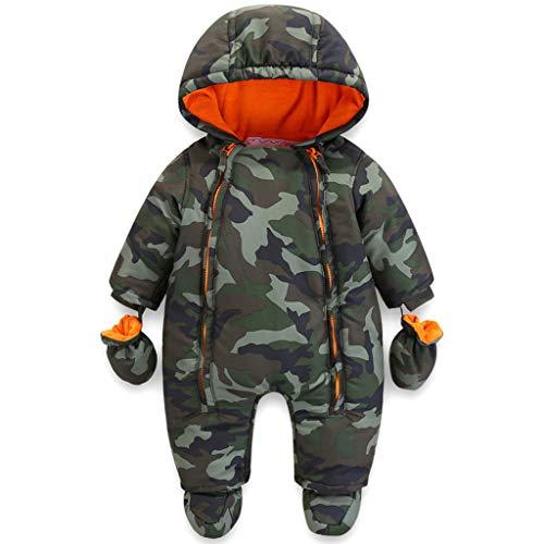Bebé Mameluco con Capucha Invierno Conjunto de Ropa Traje de Nieve con Guantes y Botines Trajes de Algodón 6-9 Meses