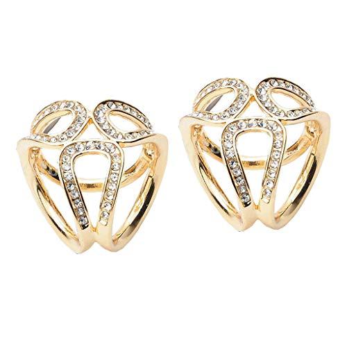 dailymall 2 Piezas para Mujer 3 Anillos Anillo de Bufanda de Diamantes de Imitación Clip de Hebilla Deslizante Joyería de Oro