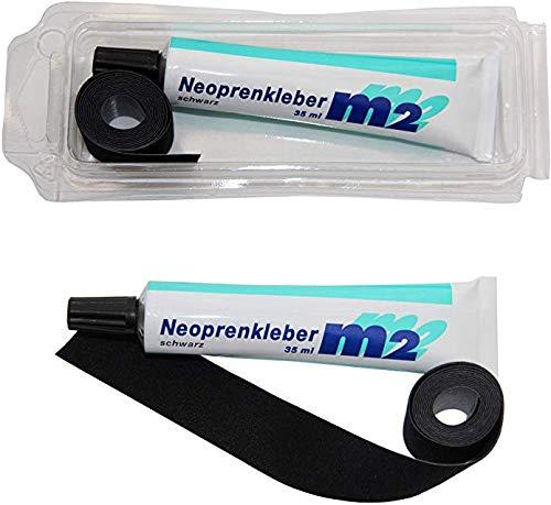 M2 Neopren Nahtband 25mm x 950mm Zum Aufbügeln Neoprenkleber 35ml Reparatur für Nähte Naht Neoprenanzug Tauchanzug Tauchschuhe Schwarz