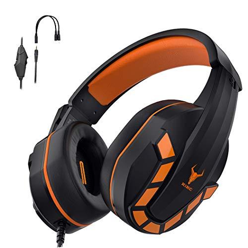Kikc PS-4 Gaming Headset & PS4 Headset & Xbox One Headset, 3,5 mm Gaming Kopfhörer mit Mikrofon & Lautstärkeregler für Nintendo Switch, PC, Laptop, PS3, Videospiel (schwarz + orange)