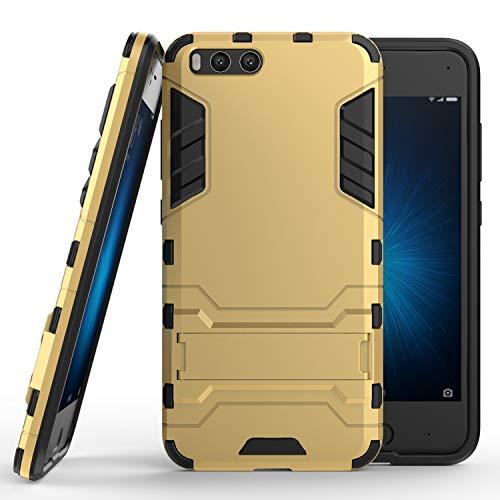 COOVY® Funda para Xiaomi Mi 6 de plástico y Silicona TPU, extrafuerte, con protección contra Golpes, Funda con función Atril   Color Oro
