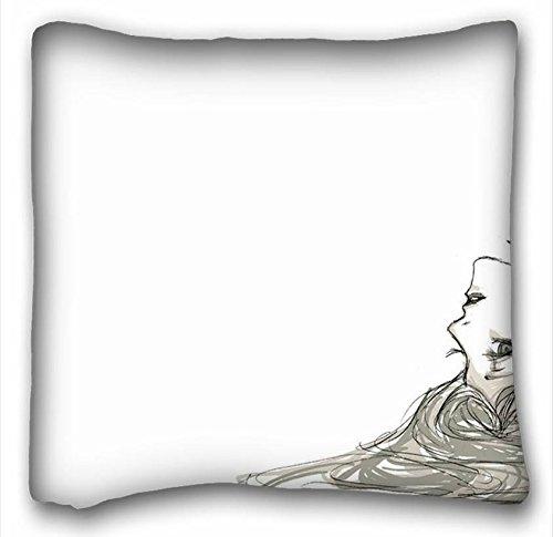 Suave funda de almohada de carcasa (animales perro perros Awhite) personalizado con cremallera funda de almohada de 16x 16Inches (One lados) de sorpresa que apto para queen-bed pc-green-15192
