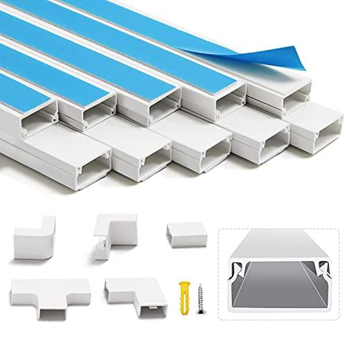 400cm Canaleta para cables 10 piezas blanco autoadhesivo | Cubierta de cable de PVC, canal de cables para ocultar cables | Canal de televisión por cable