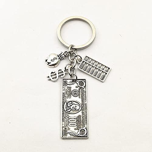 WANM 1 stücke Vintage Buchhaltung Taschenrechner Schlüsselanhänger Charms 100 Dollarschein Schlüsselanhänger für Männer Brieftasche Geschenk Schmuck