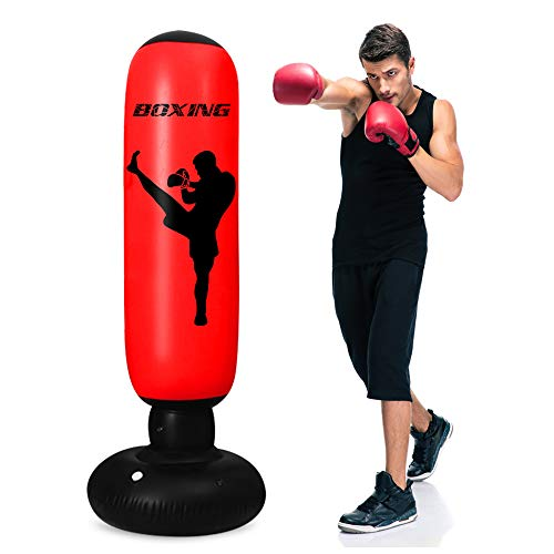 TUOWEI Punching Bag, Inflatable Punching Bag for Kids 63Inch Freestanding Punching Bag with Stand for Adults/Kids Standing Boxing Bag (Crimson)