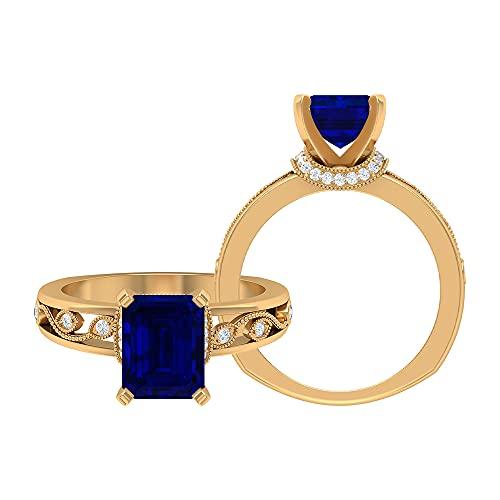Anillo solitario de 2,75 CT con corte octágono creado zafiro azul y detalles de moissanita, anillo milgrain de oro (calidad AAAA), 14K Oro amarillo, Size:EU 49