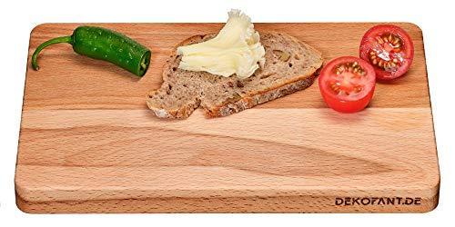 DEKOFANT Frühstücksbrettchen Holz Buche 25 x 16 x 2 cm I angenehm Dick I aus Heimischen Holz I Natur belassen I praktisches Frühstücksbrett geölt eckig