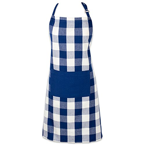 DII Cotton Adjustable Buffalo Check Plaid Apron with Pocket & Extra-Long Ties, 32 x 28', Men and Women Kitchen Apron for Cooking, Baking, Crafting, Gardening, & BBQ - Navy & Cream