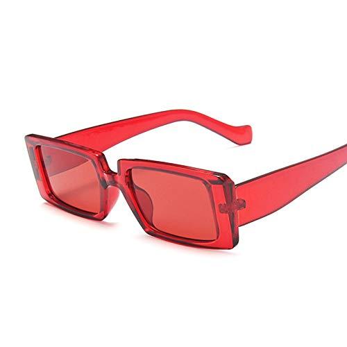 Gafas de sol transparentes cuadrado mujeres rectángulo masculino rectángulo femenino gafas pequeño marco vintage aplicar al trabajo de computadora o conducir y otras actividades al aire libre- Rojo