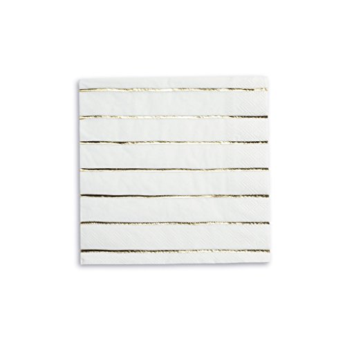 Daydream Society Frenchie Metallic Striped Paper Party Napkins, Pack of 16, Gold Foil