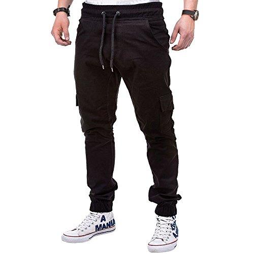 Pantalon de Sport Casual Couleur Unie Ceinture Élastique pour Homme Slim Fit Baggy Respirant Confortable Cordon De Serrage Grand Taille Jogger Survêtement