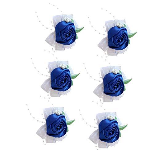 oshhni 6 Set Perlas Flor Rosa Boda Dama de Honor Ramillete Pulsera Pulsera Azul