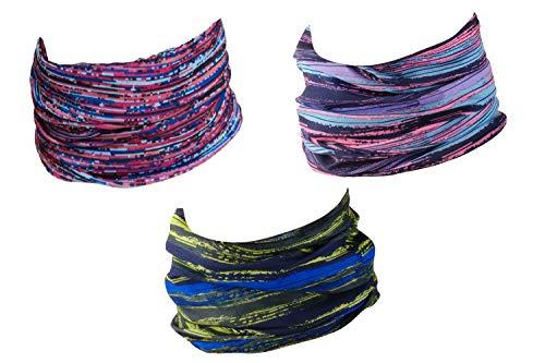 Hilltop 3er Set Motorrad Multifunktionstuch, Schlauchtuch, Halstuch, Sporttuch in den neuesten Designs, 3er Set/Farben:Colourful Interference