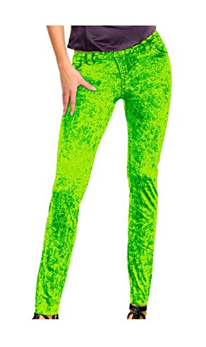 Leggins neon grün Jeansmuster Neonhose Neon Nights Holi 80er 90er Strumpfhose