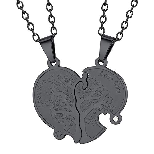 U7 Heart Necklace for Women Men Black Metal Plated Rolo Link Chain Tree of Life Grain Love Heart Yin Yang Pendant His and Her Couple Matching Set