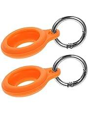 MILISTEN 2 sztuki silikonowych osłon na słuchawki Airtags ochrona przed zgubieniem trackera z breloczkiem, kompatybilny z Airtags Orange