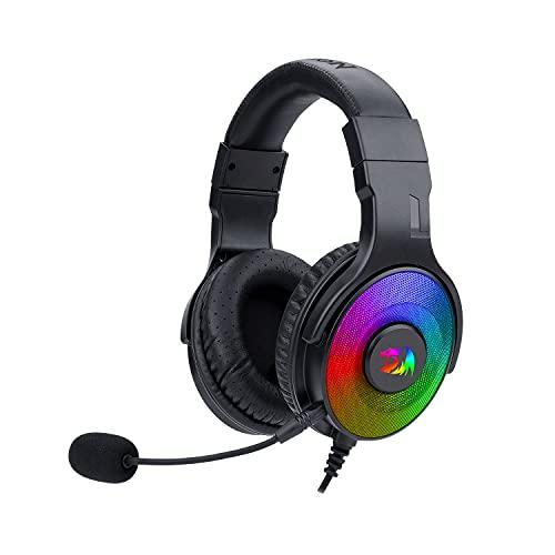 Redragon Pandora H350 RGB Auriculares para Gaming - Audio de Alta Definición + Potentes Bajos - Micrófono extraíble, Almohadillas Grandes - Funciona en PC/PS4/XBOX One/NS