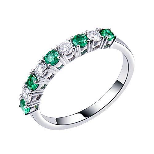 Bishilin Damen Ring Verlobung Weißgold 750, Eheringe Hochzeit Ring Diamant Bandring mit Rund Smaragd 0.31ct Gr.52 (16.6)