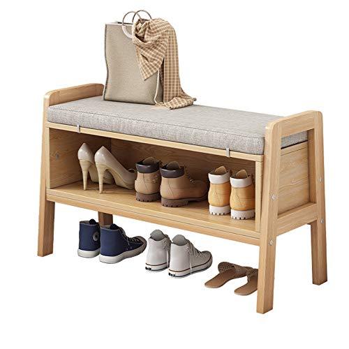 THBEIBEI Zapateros Banco Zapatero con Estantes para Zapatos Zapatero con Taburete con Amortiguar Cómodo para Entrada Pasillo Salón Dormitorio (Color : Wood Colour, Size : 65cm)