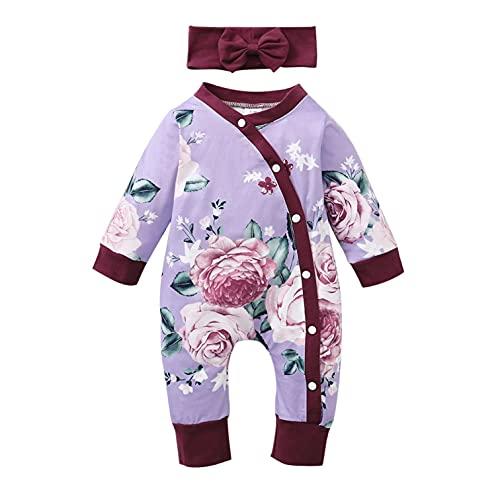 YWLINK Mono De Bebé con Botones Pelele Bebé NiñAs NiñOs Mameluco Algodon Pijama Sleepsuit Recien Nacido Mamelucos Manga Larga Mono Caricatura Trajes Pijamas + Venda