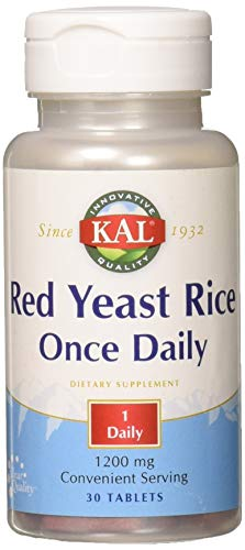 KAL® Red Yeast Rice Once Daily 1200mg. Capsules | With Unsaturated Fatty Acids, Amino Acids & Phytonutrients | Rapid Disintegration | 30 Tablets