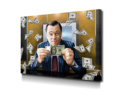 Foto Canvas Schilderijen Wolf Van Wall Street | Decoratieve Canvases - Wanddecoratie - Woonkamer Schilderijen | 100 x 75 cm Klaar Om Op Te Hangen Voor Woonkamer Inrichting - Slaapkamer Decoratie