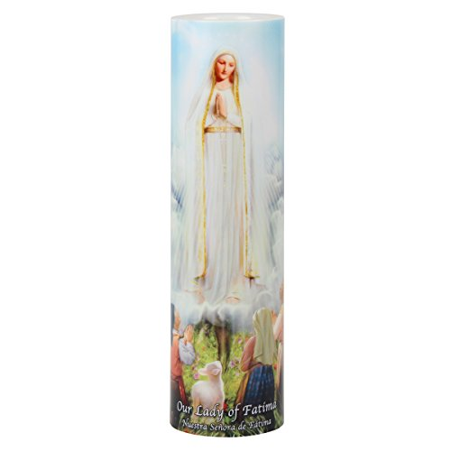 Lady of Fatima LED Flameless Devotion Prayer Candle, Religious Gift, 6 Hour Timer for More Hours of Enjoyment and Devotion!