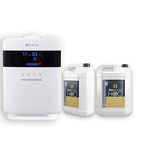 360 Dental HOCl Dry fogger - Includes 2 x 5L Bottles of HOCl Solution - Kills 99.999% of All Know viruses and Bacteria - Tested to BS EN 14476