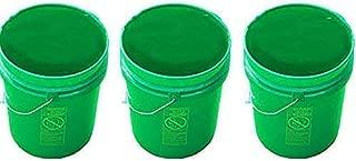 5 Gallon Green Plastic Buckets | 3 Pack | HDPE Plastic | Super Heavy Duty 90 Ml