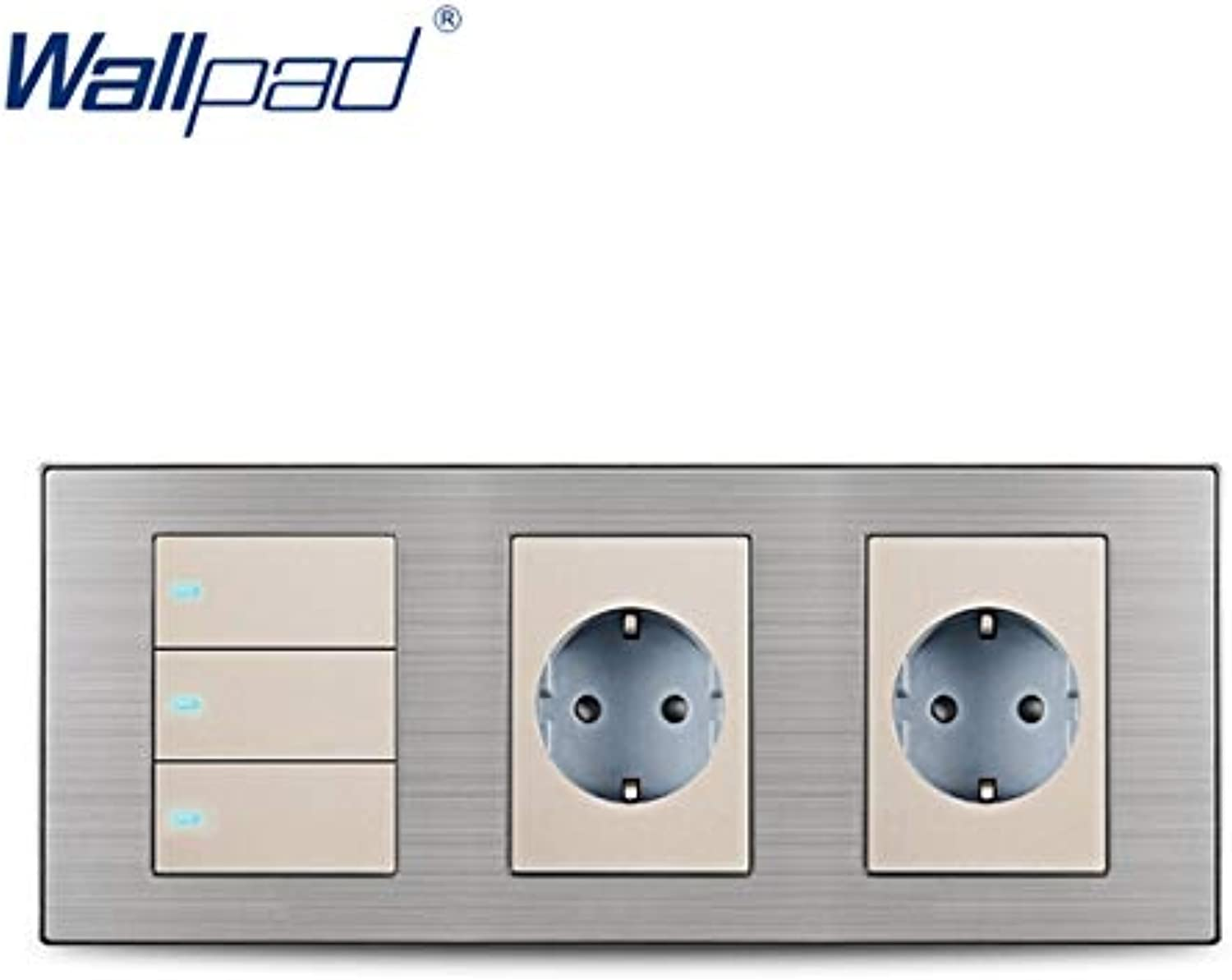 Wallpad Hot Sale 3 Button 2 Way Switch with 2 EU Socket Schuko Luxury Wall Electric Power Outlet German Standard 234  86mm  (color  Champagne)