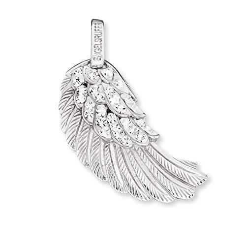 Engelsrufer - Engelsflügel Kettenanhänger Damen aus 925 Sterlingsilber mit Zirkonia Kristallen, echt Silberschmuck Flügelanhänger ohne Kette