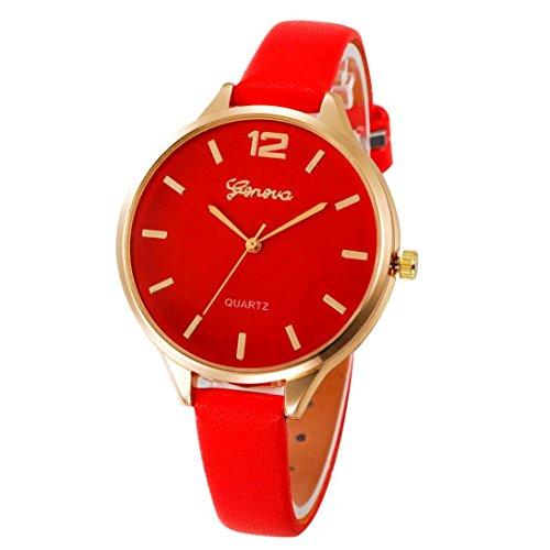 Armbanduhr Damen Uhr Xinnantime Casual Checkers Faux Leder Analoge Quarz Damenuhr Frauen Farbe 6 (Standard, Rot)