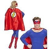 PARTY DISCOUNT® Unisex-Kostüm Superheld, Umhang und Augenmaske