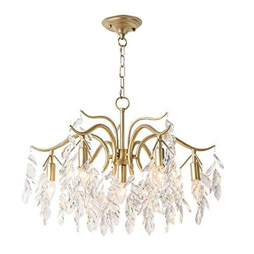 Cristal Retro Lámparas De Araña,Oro Moderno Lujoso Lampara Colgante E14 Altura Ajustable Semi Flush Lámpara De Techo Para Sala De Estar Comedor-Dorado 65cm