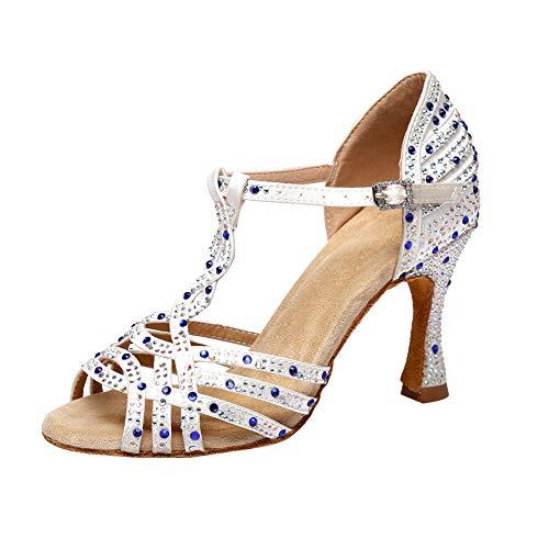 Jerilla Zapatos de Baile de salón para Mujer Sandalias de pedrería de satén para la Fiesta Boda Moderna Latina Salsa