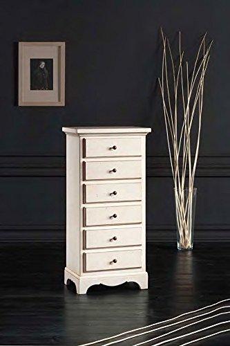 Legno&Design Commode 6 tiroirs couleur blanc vieilli classique et moderne.