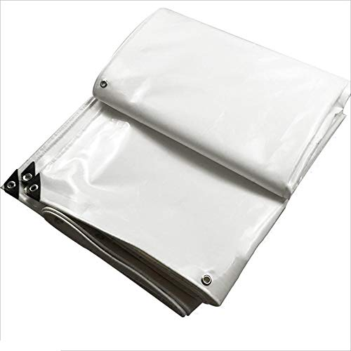 DNSJB Tarpaulin Sunscreen Tarpaulin Rainproof Cloth Waterproof Sunscreen PVC Cloth Parking Shed Cloth White (Size : 5x8m)