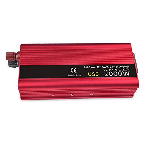 Inversor de energía de onda sinusoidal 900W / 2000W Peak DC 12V / 24 a 110 / 220V Convertidor de CA con 2 puertos USB y 1 toma universal adecuado para automóviles, cortes de energía, camping, barcos