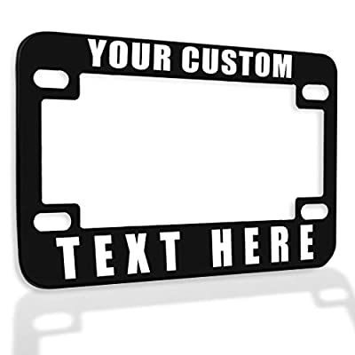 Speedy Pros Metal Zinc Custom Bike License Plate Frame Custom Personalized Text Motorcycle Accessories License Plate Holder Black 4 Holes 1 Frame