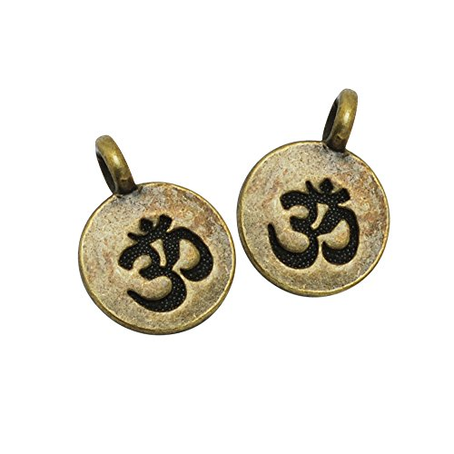 20PCS 11.516mm Round Om Charms, Yoga Charms Buddha Charm, Antique Bronze