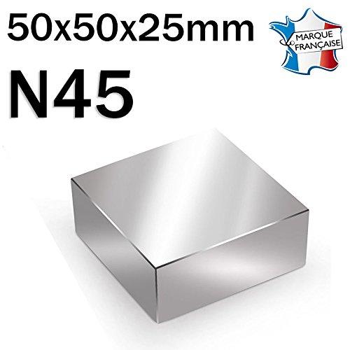 Imán paralelepípedo magnético neodimio N4550x 50x 25mm–100kg–niquelado
