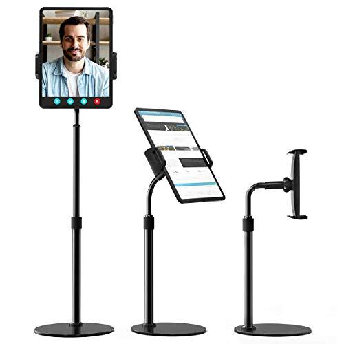 licheers Tablet Ständer Verstellbare, Tablet Halterung mit 10X Stabil Basis, höhenverstellbarer tablethalter/handyständer kompatibel mit 4''-12,9'' Handys und Tablets (Schwarz)