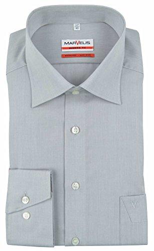 MARVELIS Modern Fit Hemd Langarm mit Brusttasche Chambray mittelgrau (Size 39)