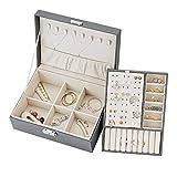 yumcute Caja Joyero para Mujer, Organizador Joyas de 2 Niveles, Grande Jewelry Organizer Box de PU Cuero, Caja Joyería de Tabique Extraíble para Anillos Pendientes Pulseras y Collares (Gris)