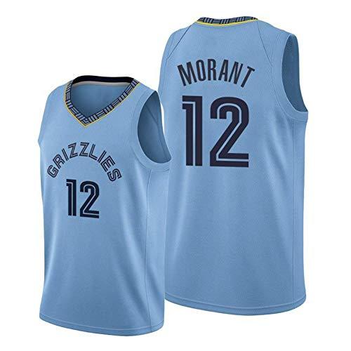 WEIZI Maillot de Baloncesto para Hombres y Jóvenes Maillot de Vancouver Grizzlies # 12 Ja Morant Maillot Sin Mangas Transpirable